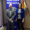 Jean Goguen speaks at Rotary Weekly Meeting